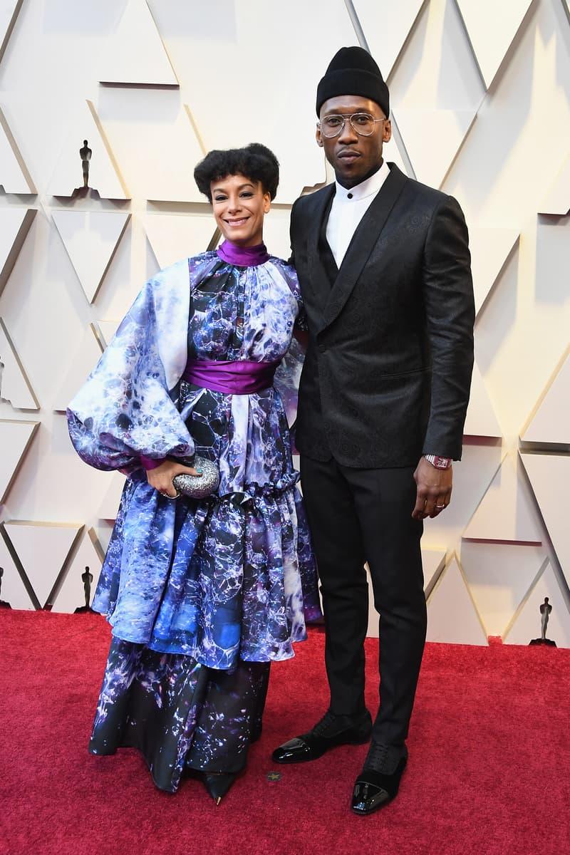 2019 Oscars Red Carpet Mahershala Ali Suit Black Amatus Sami-Karim Dress Purple Blue
