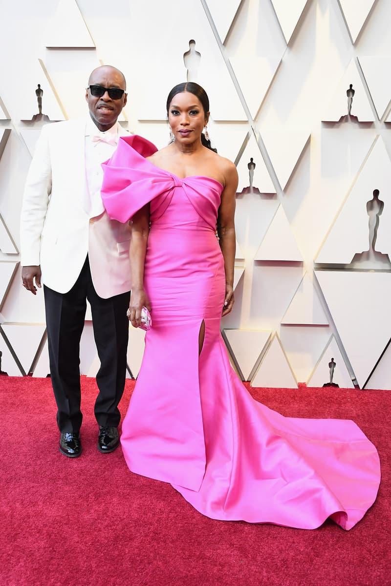 2019 Oscars Red Carpet Angela Bassett Reem Acra Dress Pink Courtney B. Vance Suit White Black