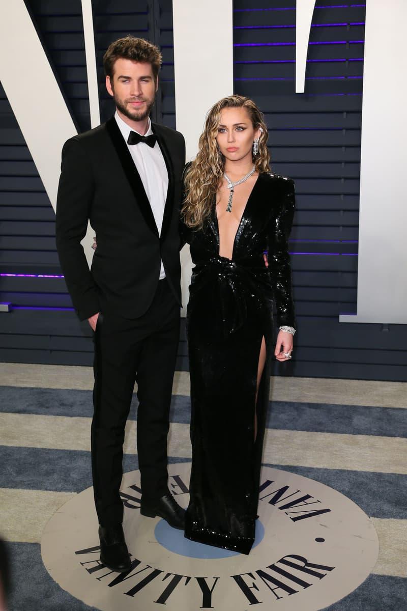 2019 Vanity Fair Oscars Party Miley Cyrus Liam Hemsworth Dress Suit Black