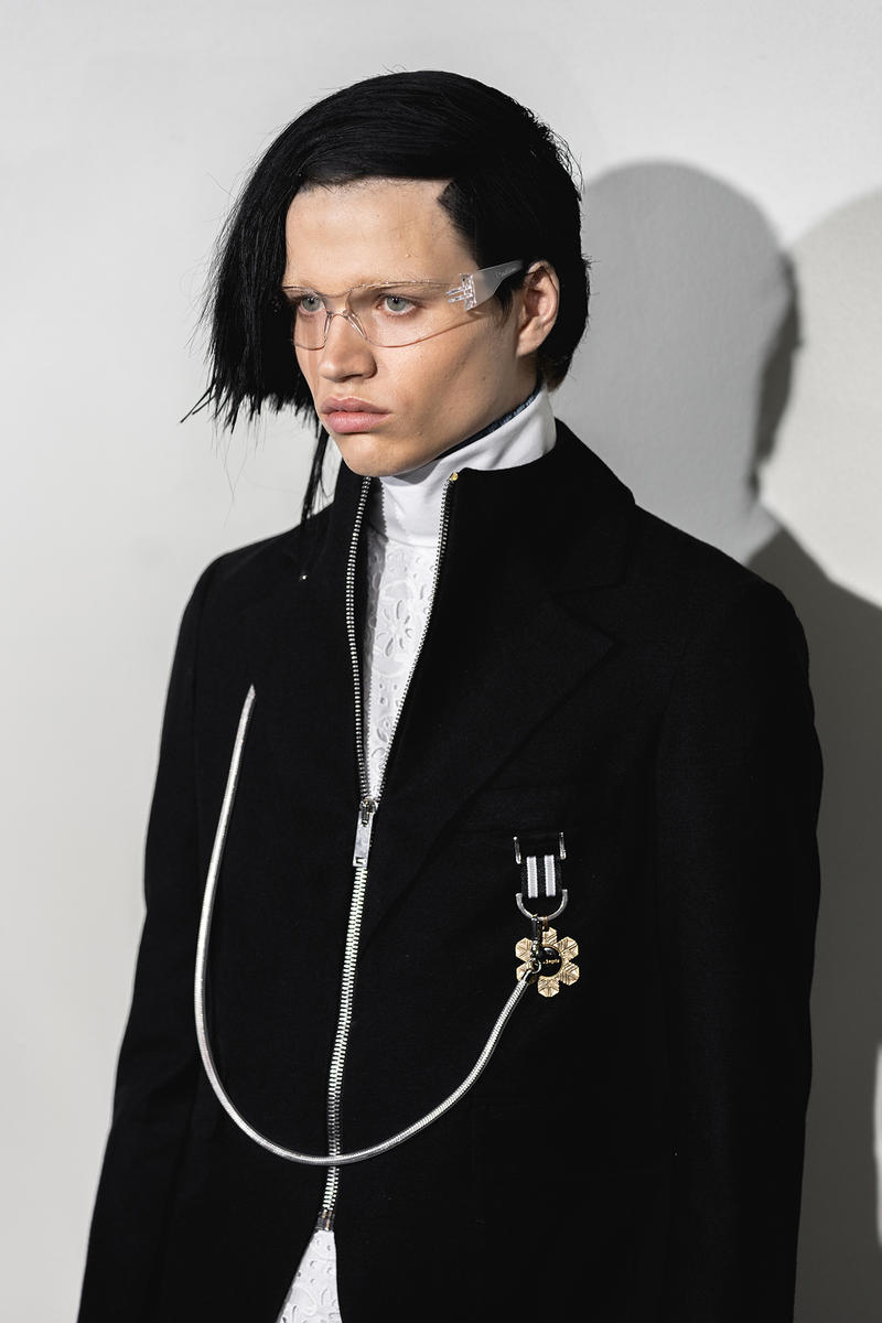 Palm Angels Fall Winter 2019 FW19 NYFW New York Fashion Week Runway Show Backstage Men Black Jacket Chain Silver
