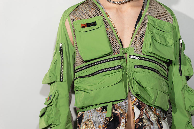 Palm Angels Fall Winter 2019 FW19 NYFW New York Fashion Week Runway Show Backstage Green Jacket Utility Zipper
