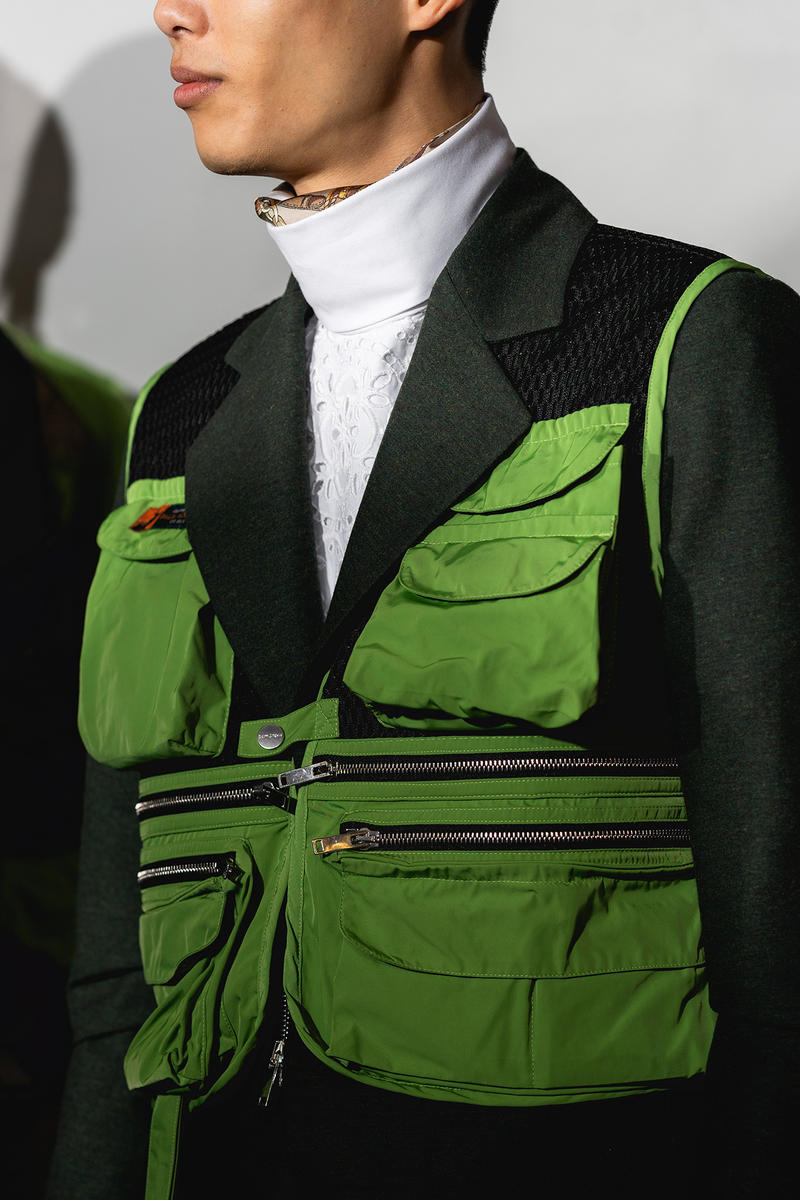 Palm Angels Fall Winter 2019 FW19 NYFW New York Fashion Week Runway Show Backstage Green Tactical Vest Utility