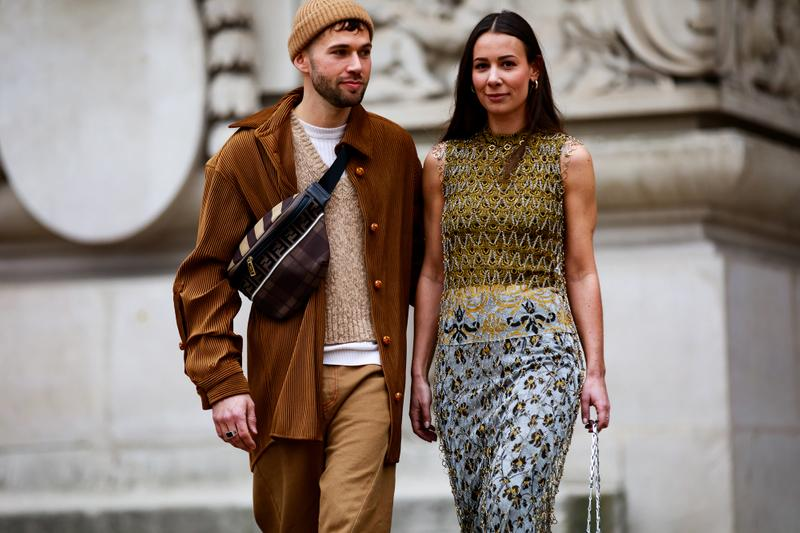 Paris Fashion Week Street Style Fall Winter 2019 Sweater Brown Top Green Skirt Grey