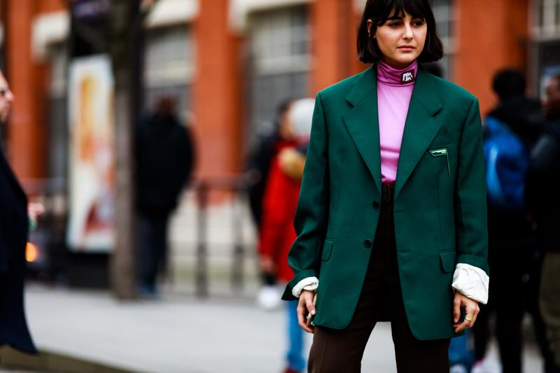Paris Fashion Week Street Style Fall Winter 2019 Maria Bernard Shirt Pink Blazer Green