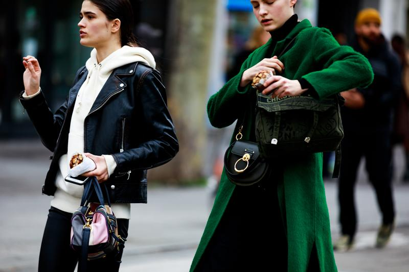 Paris Fashion Week Street Style Fall Winter 2019 Jacket Black Hoodie White Coat Green