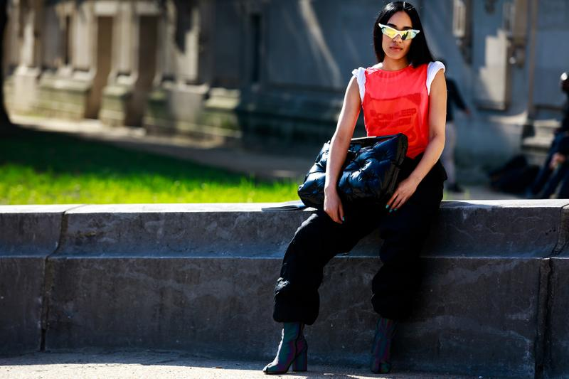 Paris Fashion Week Street Style Fall Winter 2019 Aleali May Shirt Red Maison Margiela Tabi Boots Purple