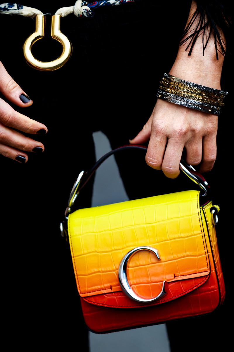 Paris Fashion Week Street Style Fall Winter 2019 Chloe Bag Yellow Red
