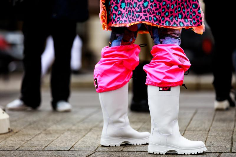 Paris Fashion Week Street Style Fall Winter 2019 Prada Boots Pink White