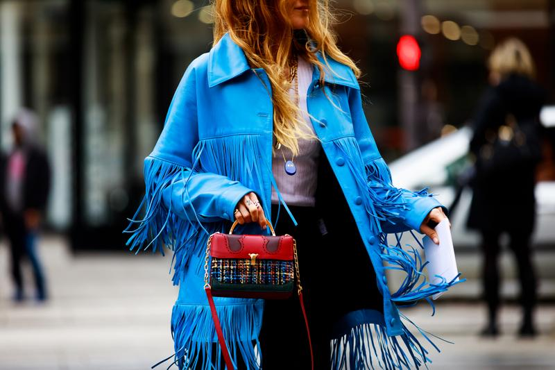 Paris Fashion Week Street Style Fall Winter 2019 Jacket Blue Bag Red Black