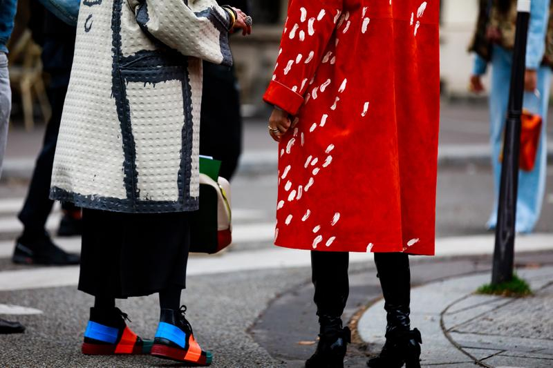 Paris Fashion Week Street Style Fall Winter 2019 Jackets Tan Red Shoes Blue