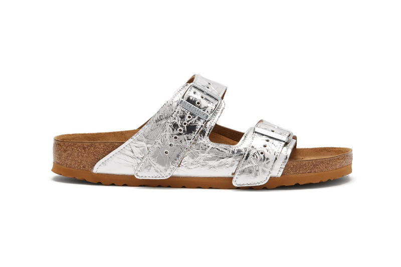 Rick Owens Birkenstock Arizona Sandals Metallic Silver Black Cream