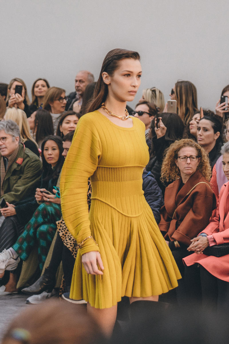 roberto cavalli fall winter 2019 fw19 runway show milan fashion week bella hadid yellow dress