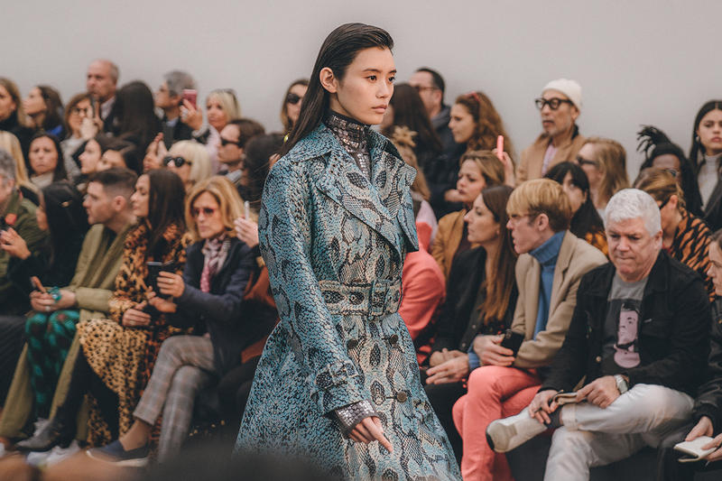 roberto cavalli fall winter 2019 fw19 runway show milan fashion week ming xi blue snakeskin