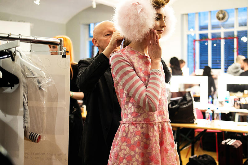 Backstage at Ryan Lo's Fall/Winter 2019 Show at London Fashion Week Stephen Jones Collaboration Behind The Scenes Runway Backstage Shots Exclusive LFW FW19