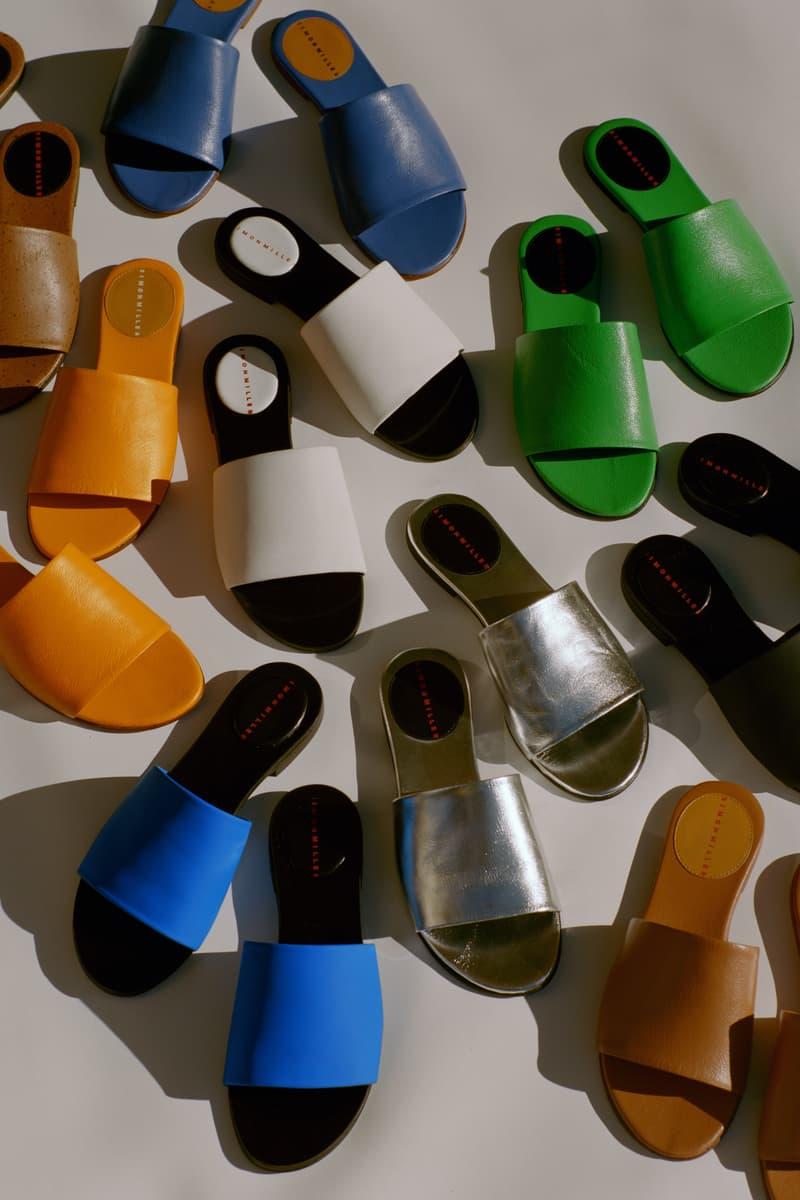 Simon Miller Shoe Collection Slice Slide Golden Orange Spotted Lamb Neon Green Cobalt