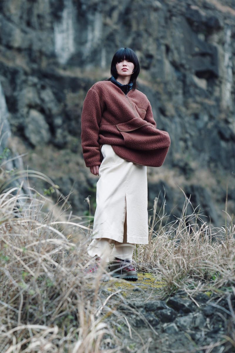 Snow Peak Fall Winter 2019 Collection Lookbook Jacket Brown Skirt Tan