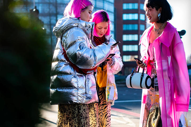 Street Style Fall Winter 2019 London Fashion Week Pink Hair Neon Fluorescent Silver Metallic Puffer Jacket