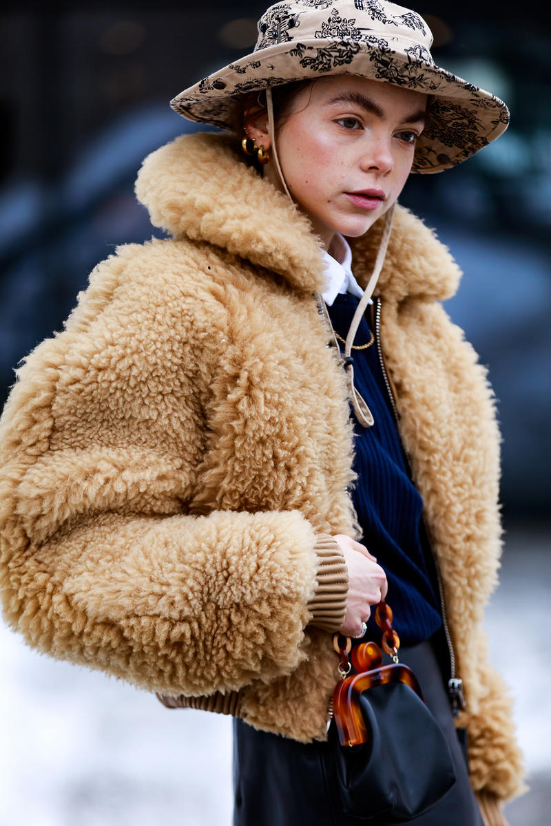 stockholm fashion week street style blogger influencer acne studios teddy jacket hat