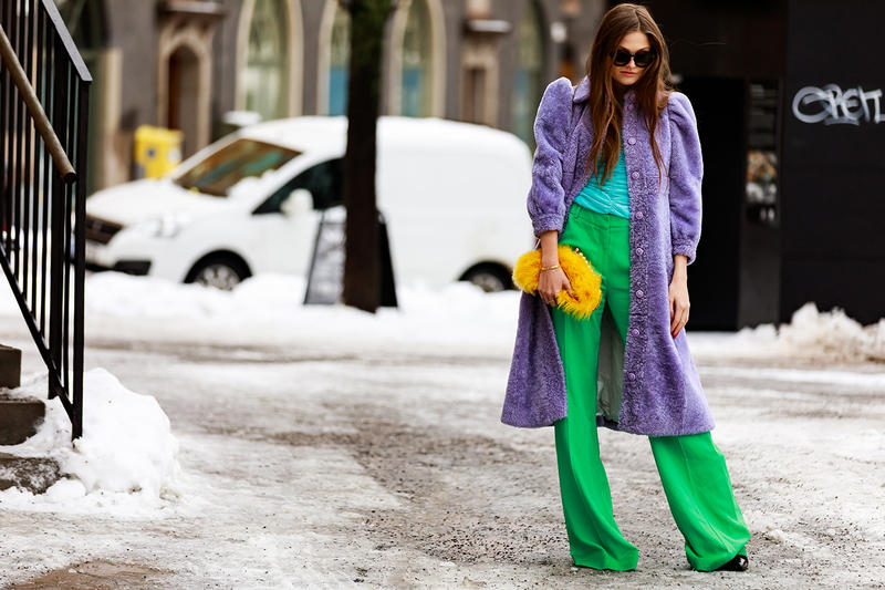 stockholm fashion week street style blogger influencer colorblock fur