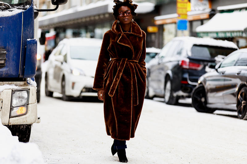 stockholm fashion week street style blogger influencer brown fur coat sunglasses
