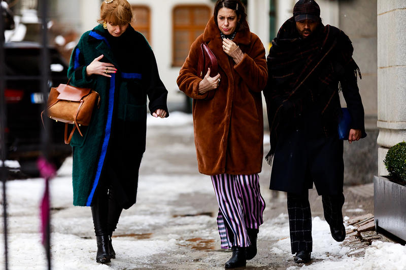 stockholm fashion week street style blogger influencer fur coat celine bag