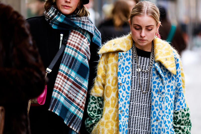 stockholm fashion week street style blogger influencer acne studios leopard coat scarf