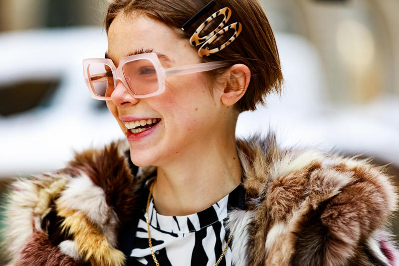 stockholm fashion week street style blogger influencer fur coat zebra print hair clips sunglasses