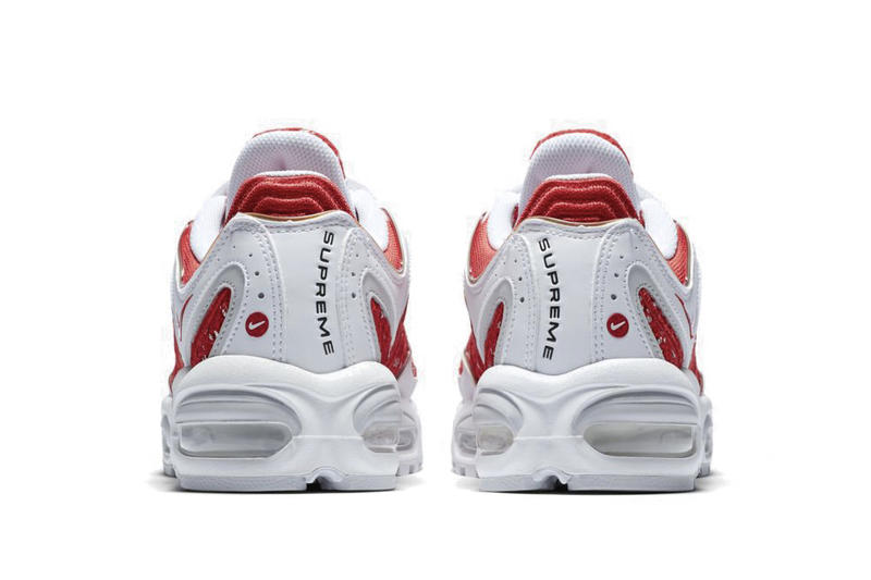 Supreme x Nike Air Max Tailwind 4 Release Info Sneaker Shoe Collaboration Swoosh Logo Branding Black Blue Red White Drop Date Teaser Official Images
