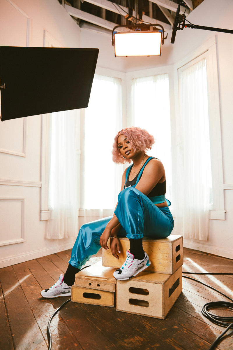 Reebok Spring Summer 2019 Alter the Icons Campaign Tayla Parx Top Pants Teal White Classic Leather ATI 90s