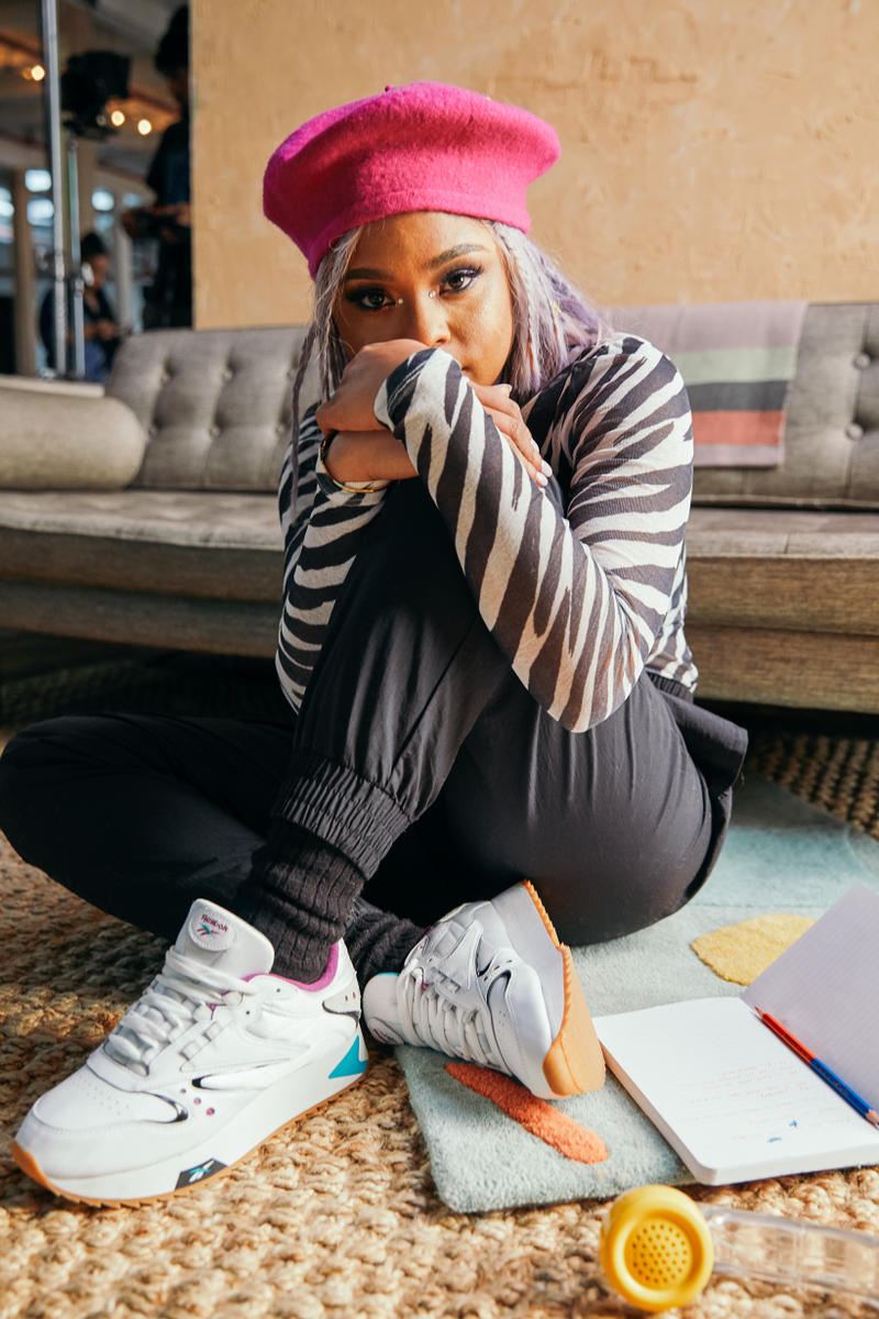 2424405885140 Reebok Spring Summer 2019 Alter the Icons Campaign Tayla Parx Pants Black  Zebra Top White Classic