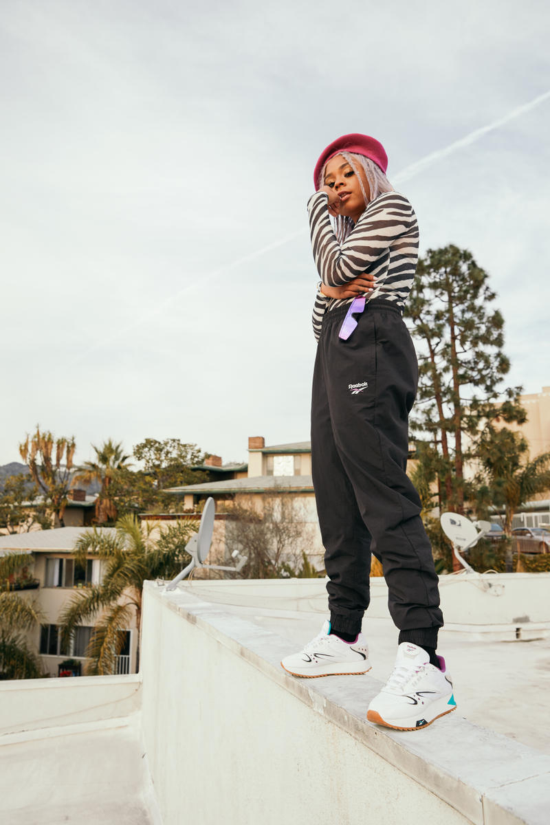 Reebok Spring Summer 2019 Alter the Icons Campaign Tayla Parx Pants Black Zebra Top White Classic Leather ATI 90s Multicolor Hat Pink