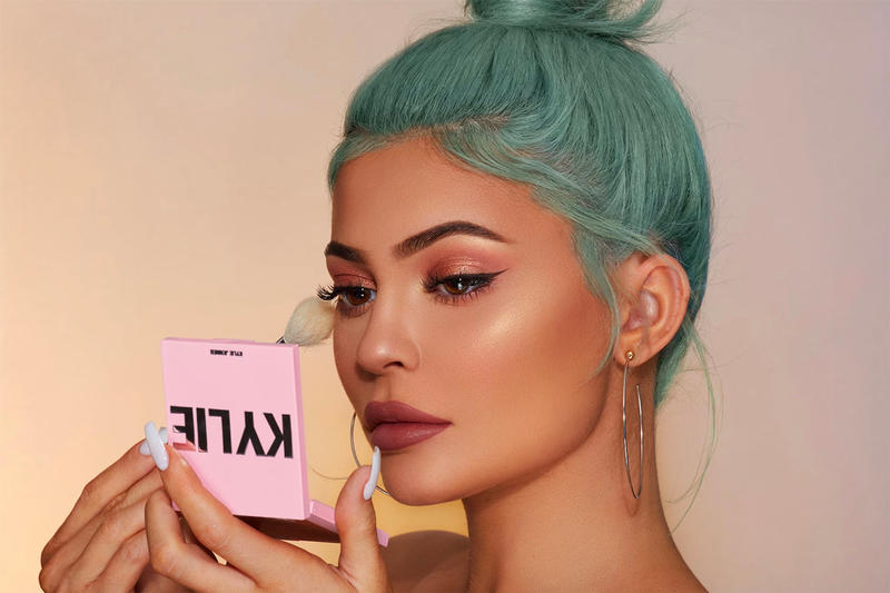 Kylie Jenner Cosmetics 2019 Kylighter highlighter brush blue hair makeup beauty