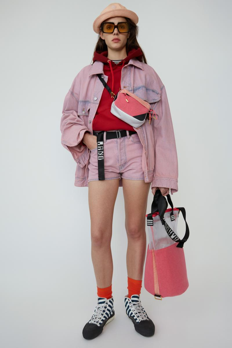 Acne Studios Spring Summer 2019 Denim Collection Jacket Shorts Pink Shirt Red