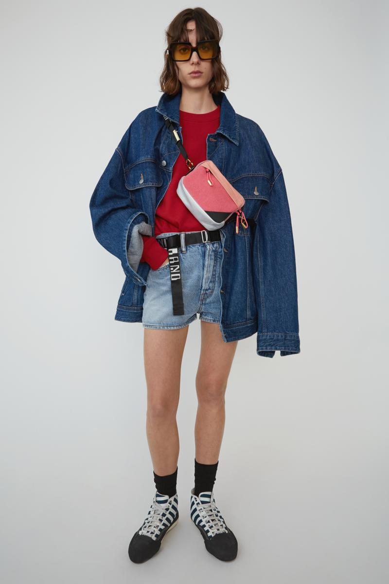Acne Studios Spring Summer 2019 Denim Collection Jacket Shorts Blue Shirt Red