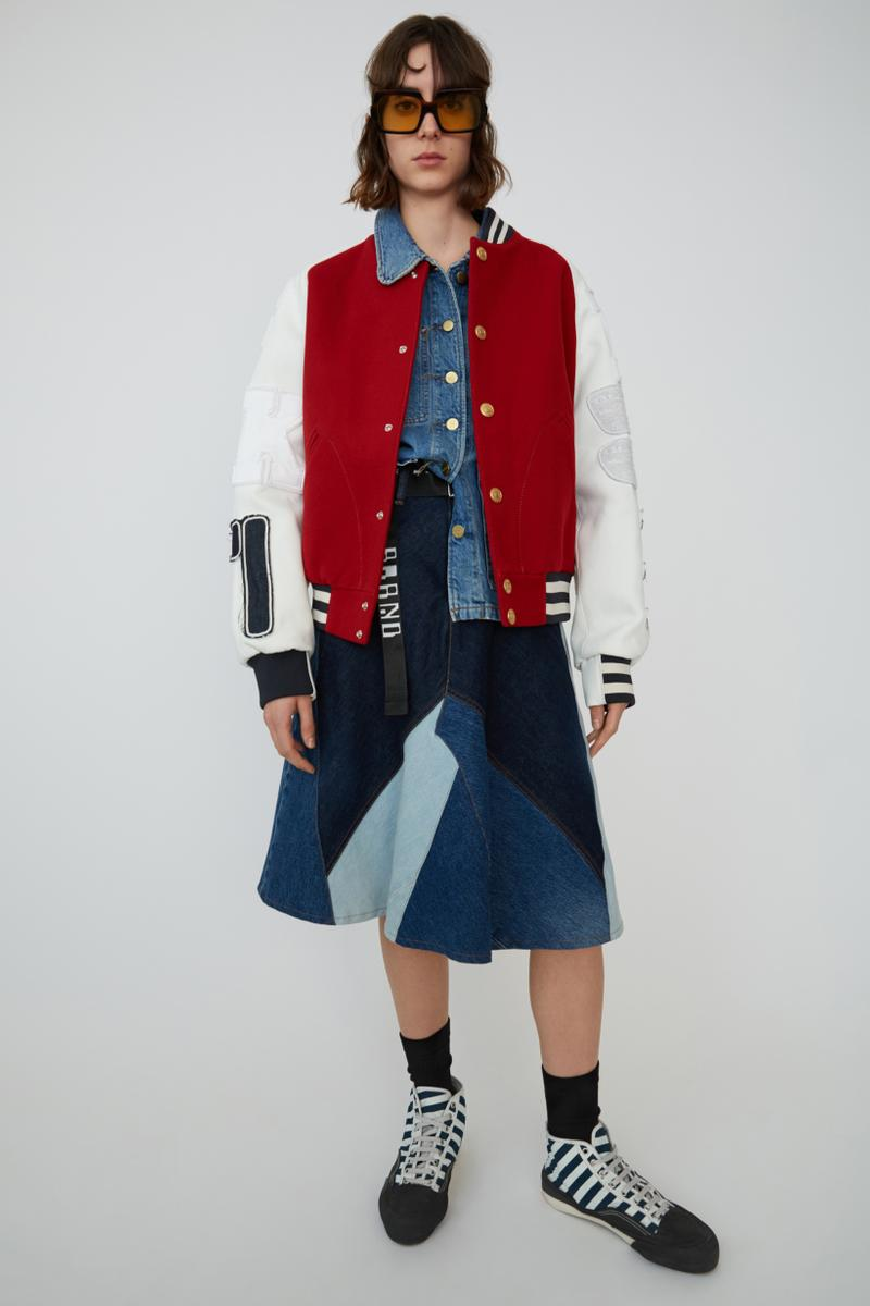 Acne Studios Spring Summer 2019 Denim Collection Bomber Jacket Red Skirt Blue