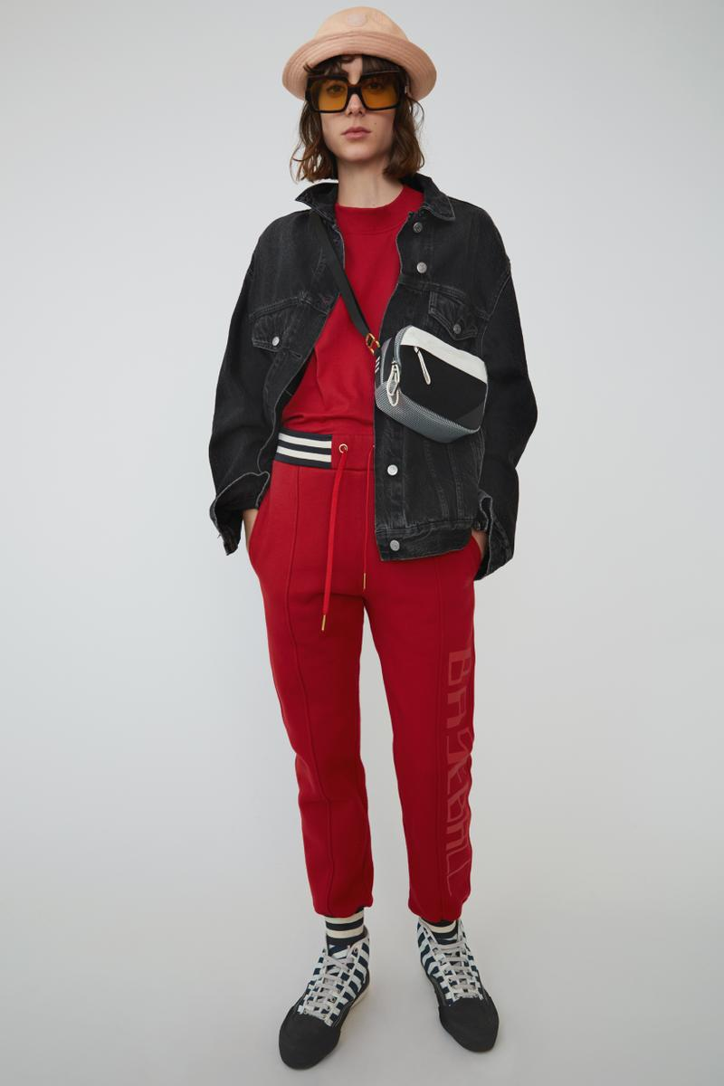 Acne Studios Spring Summer 2019 Denim Collection Jacket Blue Sweater Sweatpants Red