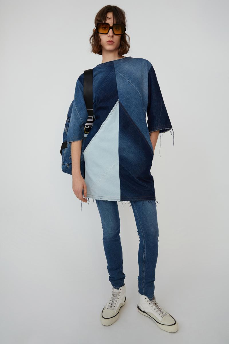 Acne Studios Spring Summer 2019 Denim Collection T-shirt Dress Jeans Blue