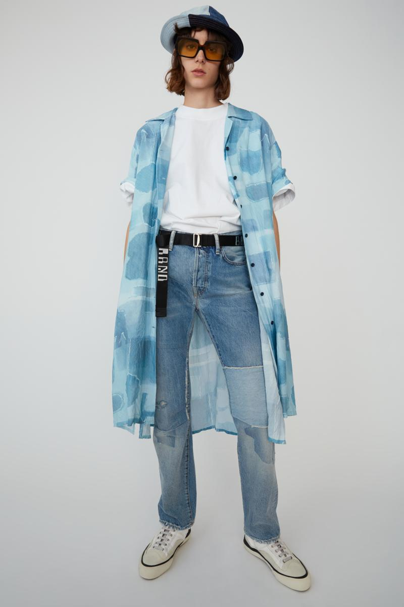 Acne Studios Spring Summer 2019 Denim Collection Shirt Jeans Hat Blue T-shirt White