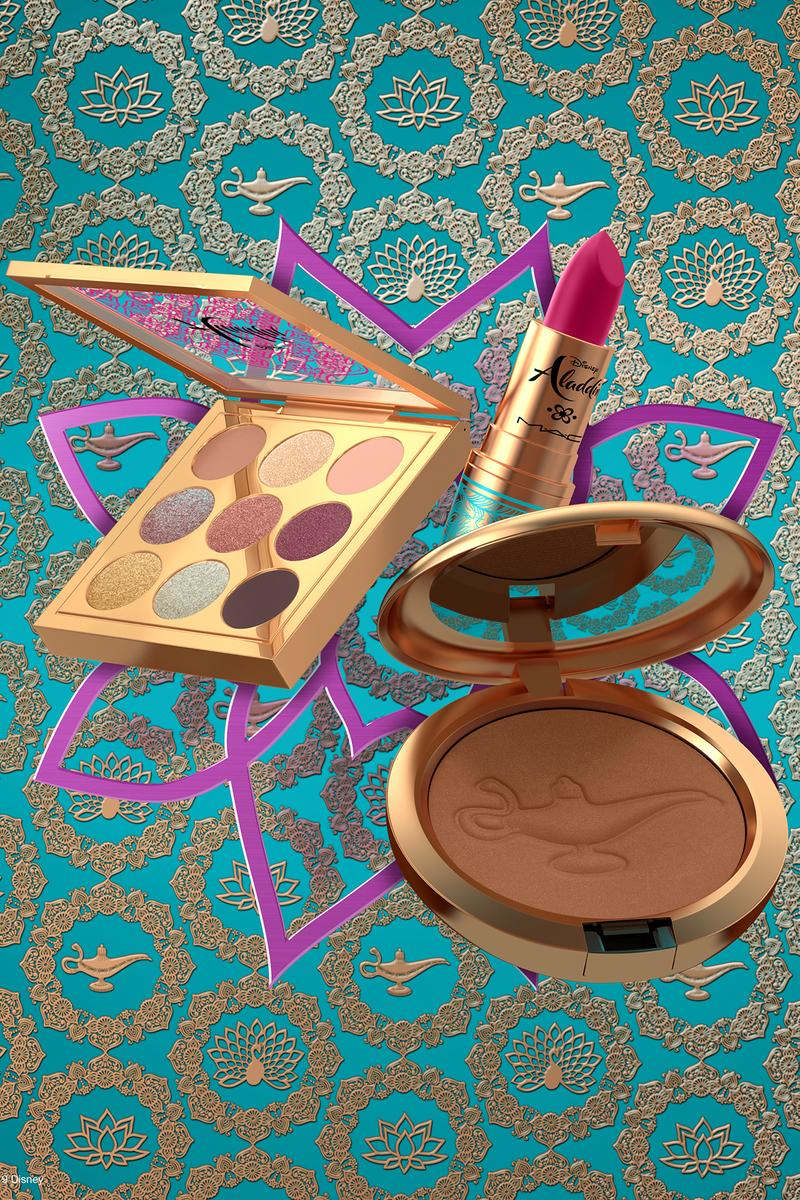 Disney x MAC Cosmetics Aladdin Makeup Collaboration bronzer lamp eyeshadow palette lipstick packaging Jasmine Princess 2019 Beauty