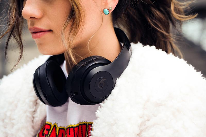 Beats By Dre Wireless Headphones Earphones Black Bluetooth Music White Furry Coat Jacket Woman Girl Lifestyle