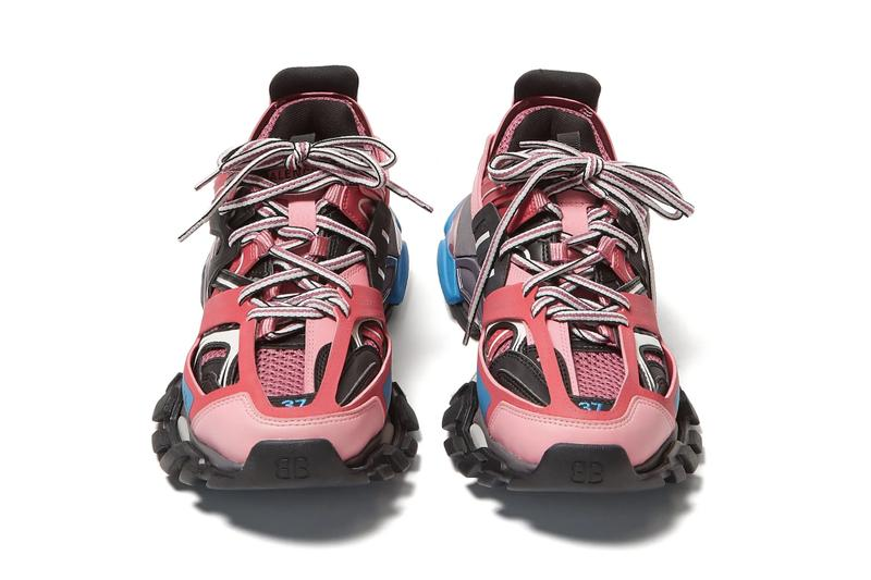 Balenciaga Track Sneaker in Pink and Blue Chunky Shoe Luxury Where to Buy Matchesfashion Sole
