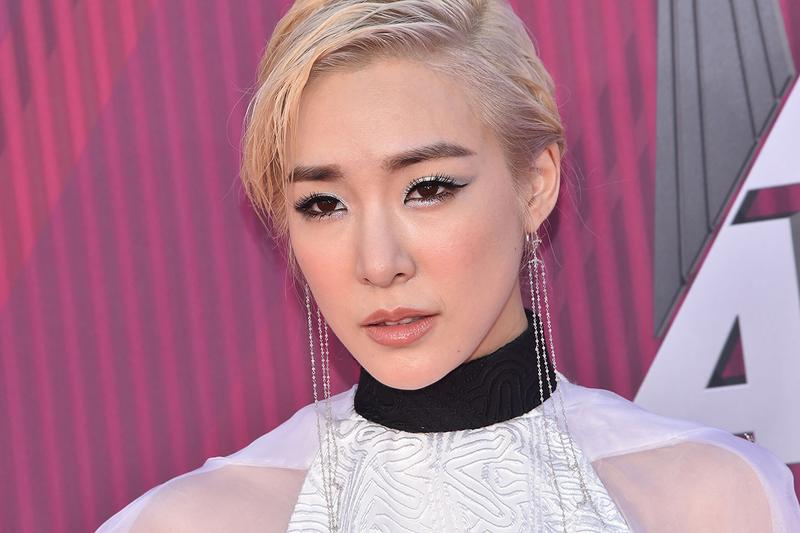 Tiffany Young iheart radio music awards 2019 red carpet jean paul gaultier white black dress cape couture korean k-pop girls generation singer artist music