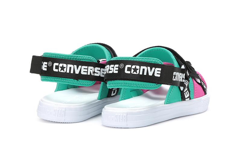 7d55b08586fb Converse Releases Logotape Sandals in Green Pink