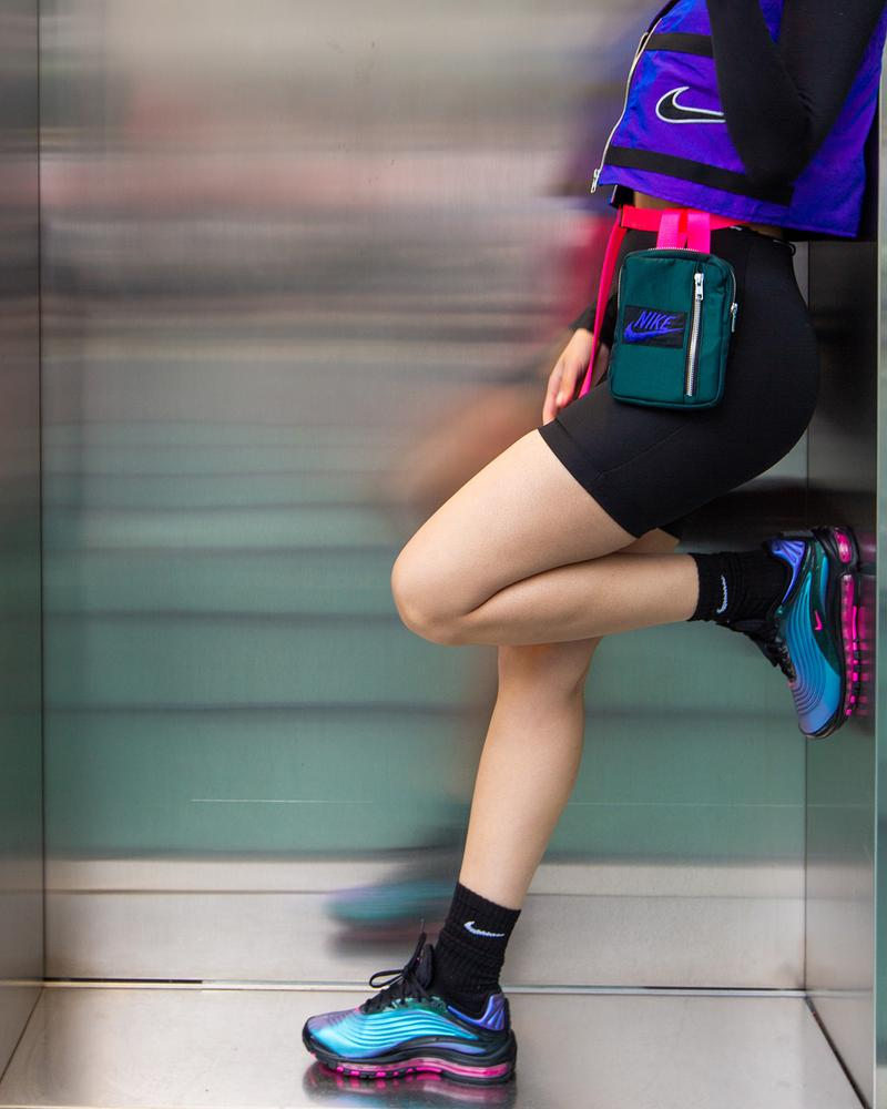 Frankie Collective Reworked Nike Crop Vest Waist Bag Air Max Deluxe Black Laser Fuchsia Regency Purple Editorial Air Max Day 2019 Sara Gourlay Vintage