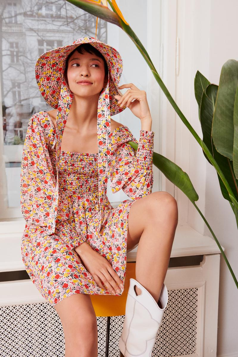 GANNI x mytheresa.com Spring Summer 2019 Capsule Collection Floral Dress Bucket Hat Red Blue Yellow Cowboy Boots White