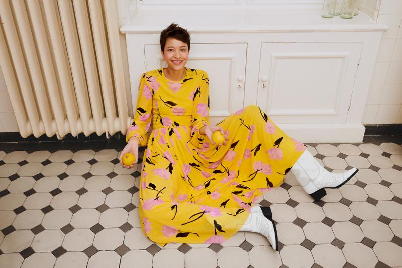 GANNI x mytheresa.com Spring Summer 2019 Capsule Collection Floral Dress Yellow