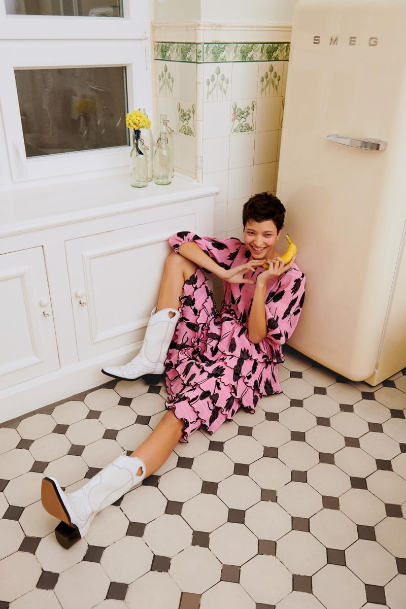 GANNI x mytheresa.com Spring Summer 2019 Capsule Collection Wrap Dress Pink Black Cowboy Boots White