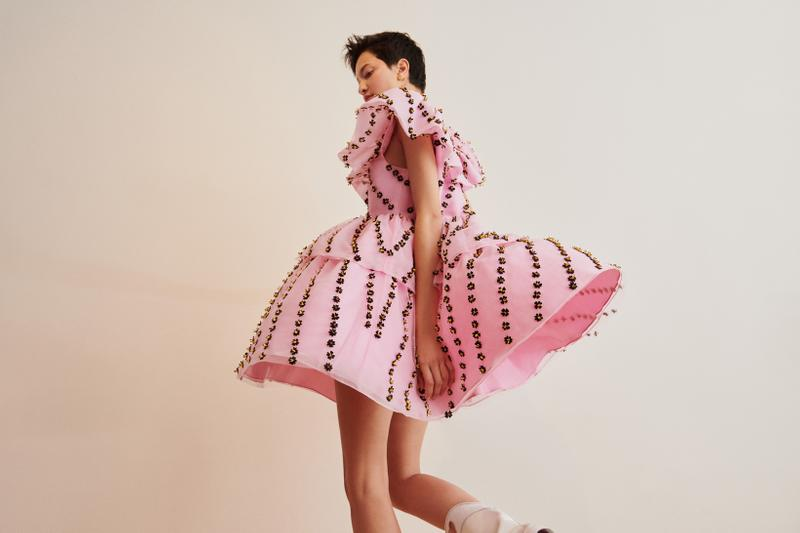 GANNI x mytheresa.com Spring Summer 2019 Capsule Collection Beaded Dress Pink