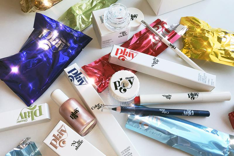 Glossier Play Makeup Products Colorslide technogel eye pencil Vinylic Lip high shine lacquer Niteshine highlighter concentrate Glitter Gelée multigrade paillettes emily weiss beauty cosmetics packaging branding group