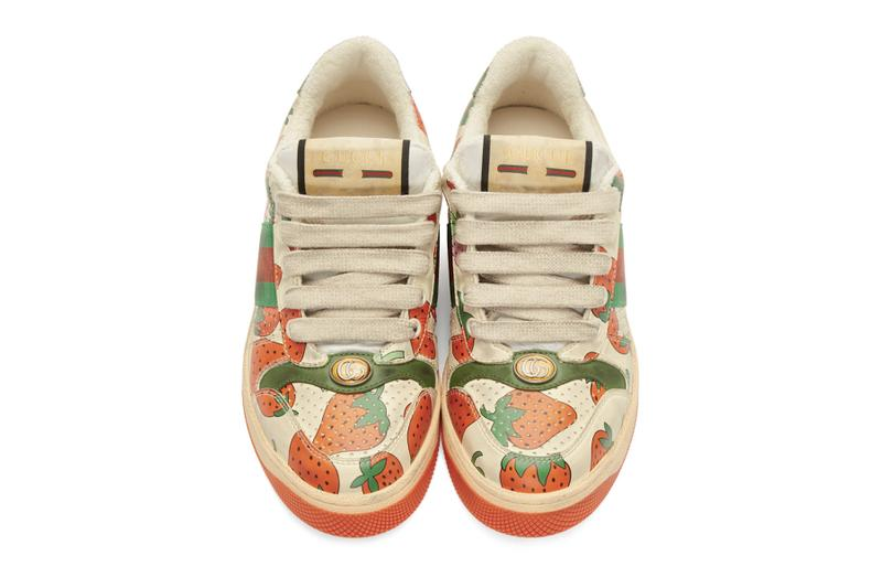 Gucci Strawberry Print Distressed Sneaker Red Green White Black Graphics